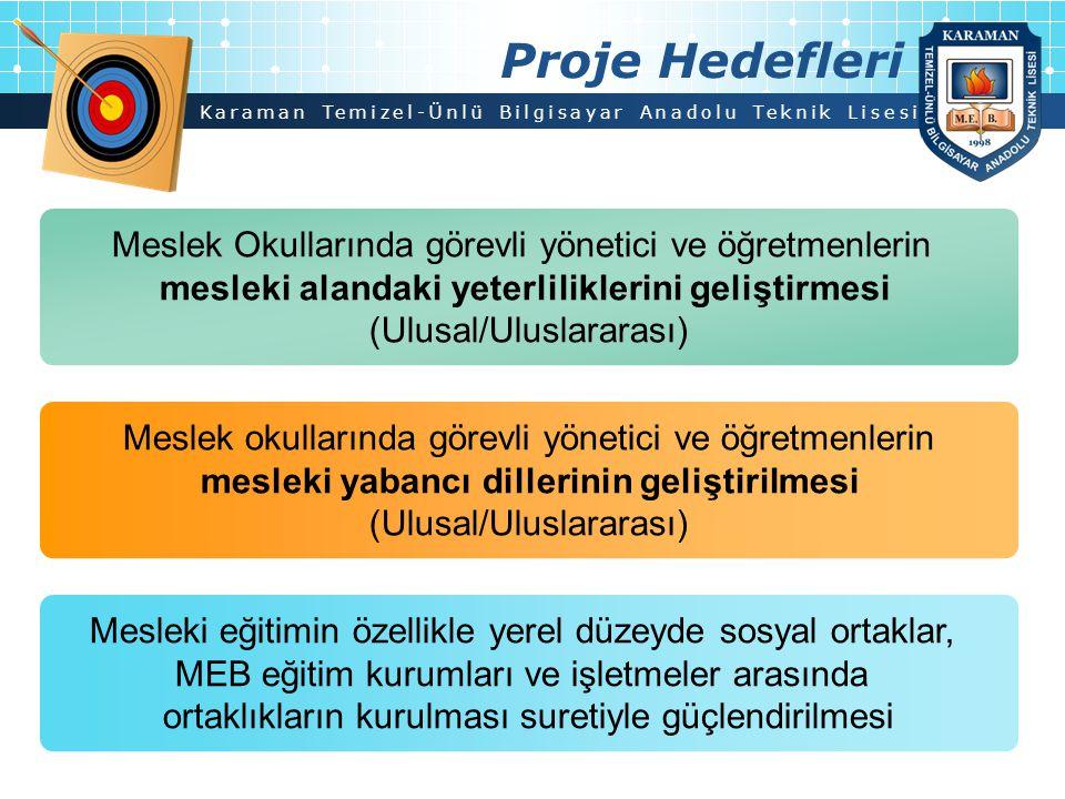Karaman Temizel-Ünlü Bilgisayar Anadolu Teknik Lisesi Proje Hedefleri Meslek Okullarında görevli yönetici ve öğretmenlerin mesleki alandaki yeterlilik
