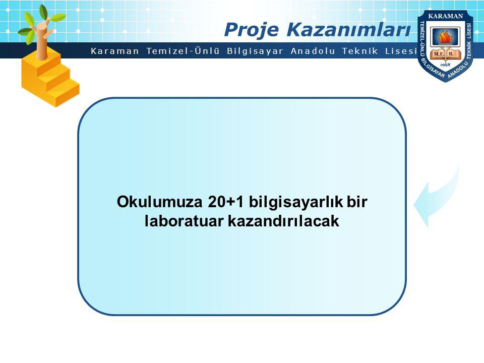 Karaman Temizel-Ünlü Bilgisayar Anadolu Teknik Lisesi Proje Kazanımları Okulumuza 20+1 bilgisayarlık bir laboratuar kazandırılacak