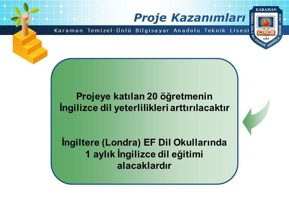 Karaman Temizel-Ünlü Bilgisayar Anadolu Teknik Lisesi Proje Kazanımları Projeye katılan 20 öğretmenin İngilizce dil yeterlilikleri arttırılacaktır İng