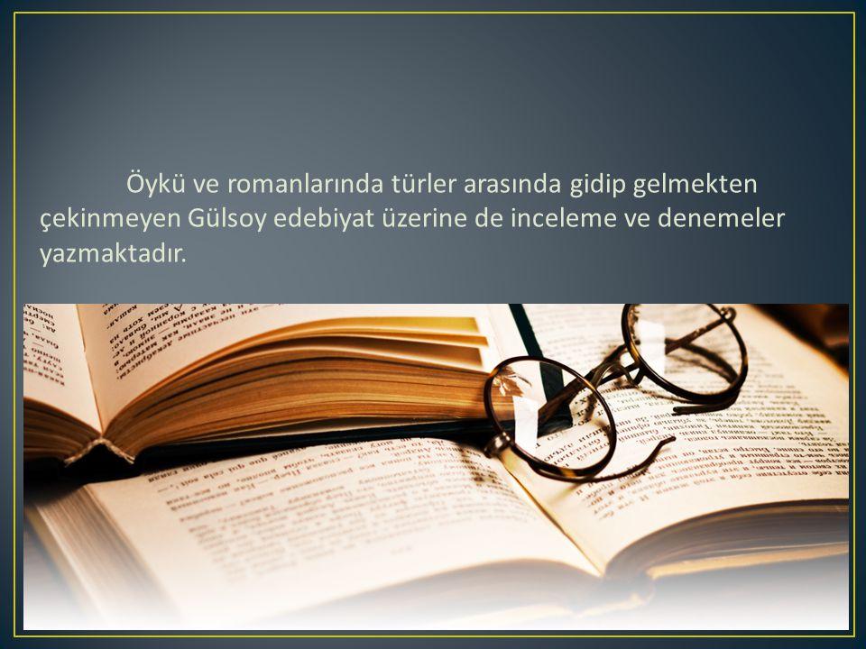 Öykü ve romanlarında türler arasında gidip gelmekten çekinmeyen Gülsoy edebiyat üzerine de inceleme ve denemeler yazmaktadır.