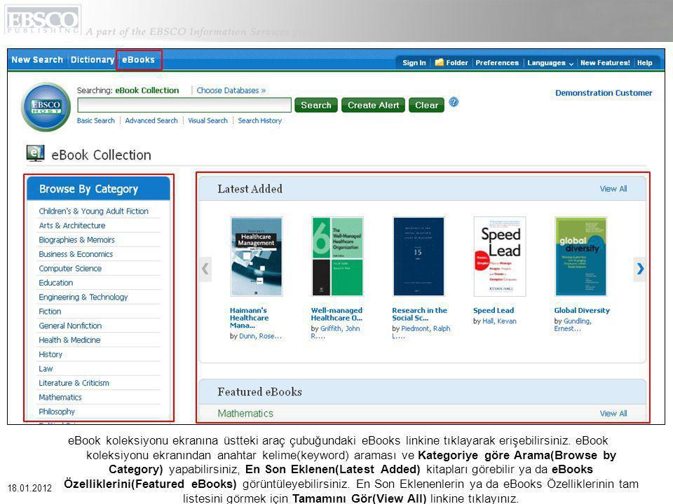 eBook koleksiyonu ekranına üstteki araç çubuğundaki eBooks linkine tıklayarak erişebilirsiniz.