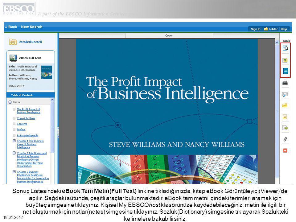 Sonuç Listesindeki eBook Tam Metin(Full Text) linkine tıkladığınızda, kitap eBook Görüntüleyici(Viewer)'de açılır.