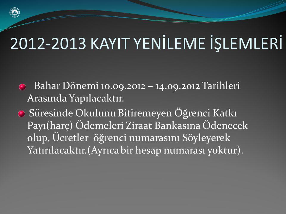 Bahar Dönemi 10.09.2012 – 14.09.2012 Tarihleri Arasında Yapılacaktır.