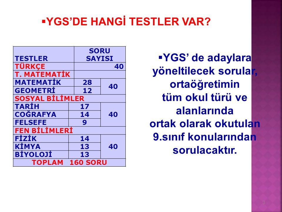 3 TESTLER SORU SAYISI TÜRKÇE 40 T.