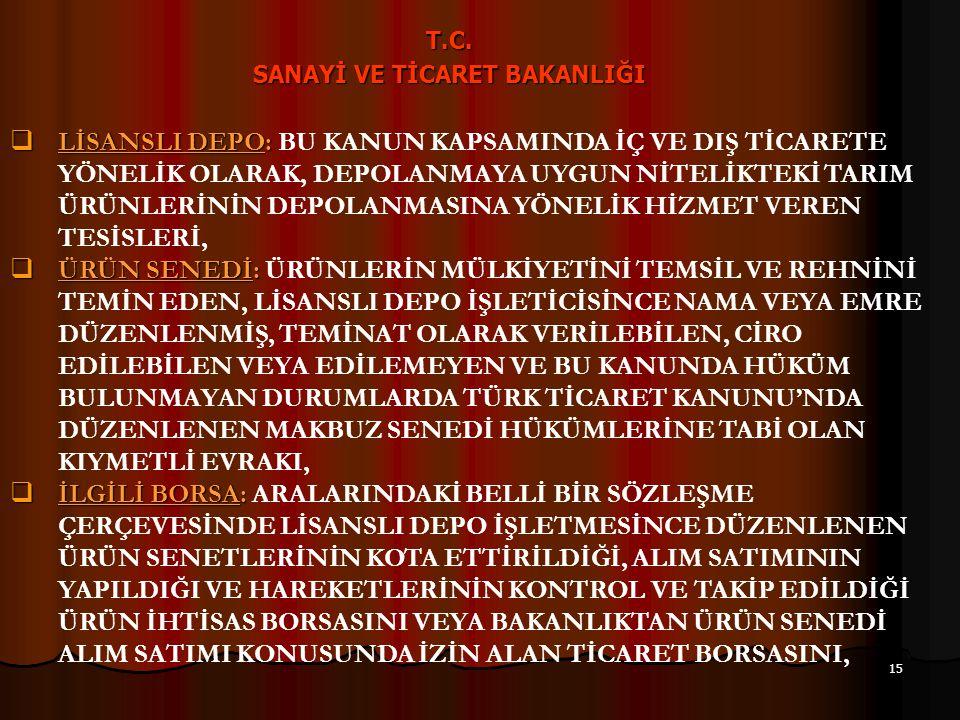 14 T.C. SANAYİ VE TİCARET BAKANLIĞI 7- SİSTEMİN TEMEL ARAÇLARI  TARIM ÜRÜNÜ :  TARIM ÜRÜNÜ : BU KANUNA UYGUN OLARAK LİSANS ALMIŞ OLAN TARIM ÜRÜNLERİ