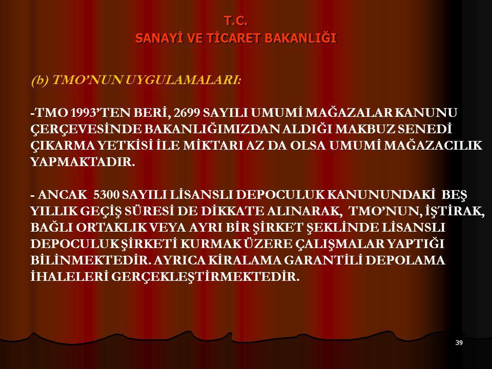 38 T.C. SANAYİ VE TİCARET BAKANLIĞI 15- LİSANSLI DEPO KURULUŞ ÇALIŞMALARI - ŞİRKET ÖRNEK ANASÖZLEŞMELERİNİN HAZIRLANMASIDA DAHİL LİSANSLI DEPO ŞİRKETL