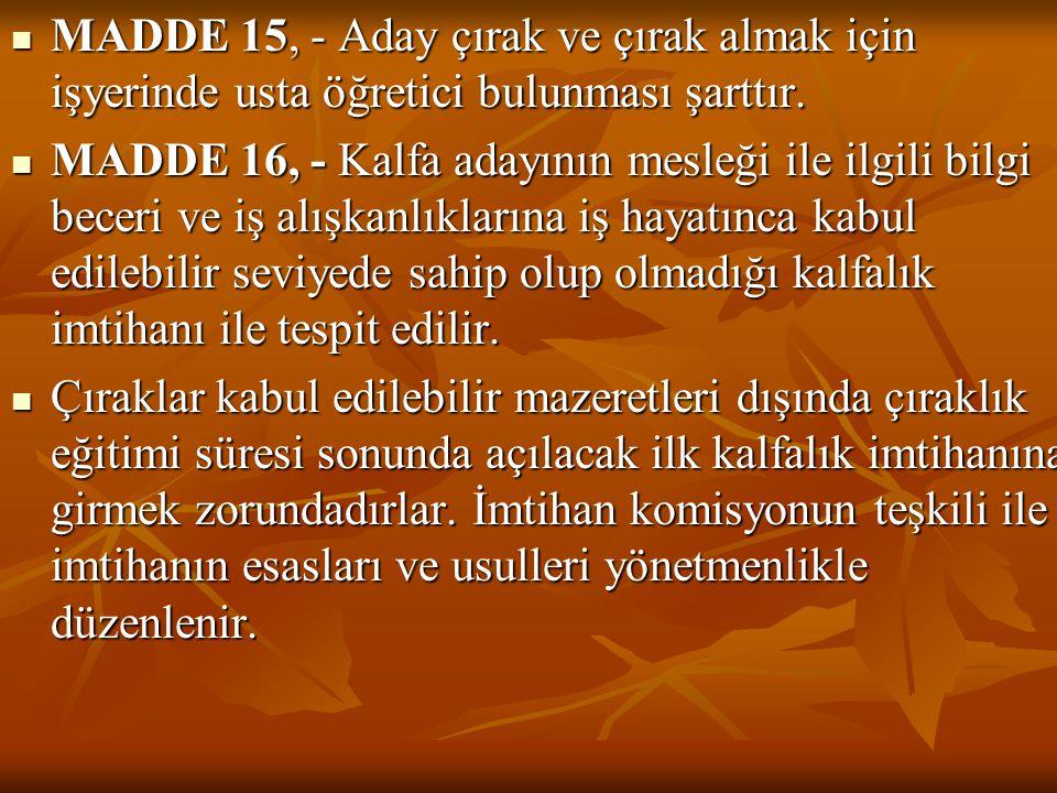 MADDE 15, - Aday çırak ve çırak almak için işyerinde usta öğretici bulunması şarttır. MADDE 16, - Kalfa adayının mesleği ile ilgili bilgi beceri ve iş
