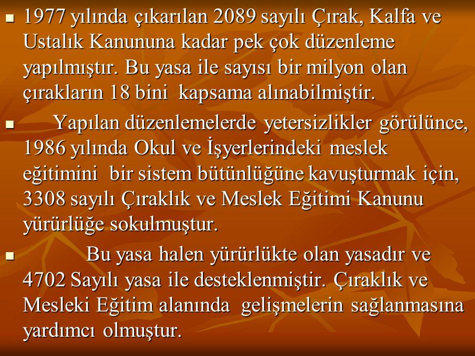 1977 yılında çıkarılan 2089 sayılı Çırak, Kalfa ve Ustalık Kanununa kadar pek çok düzenleme yapılmıştır.