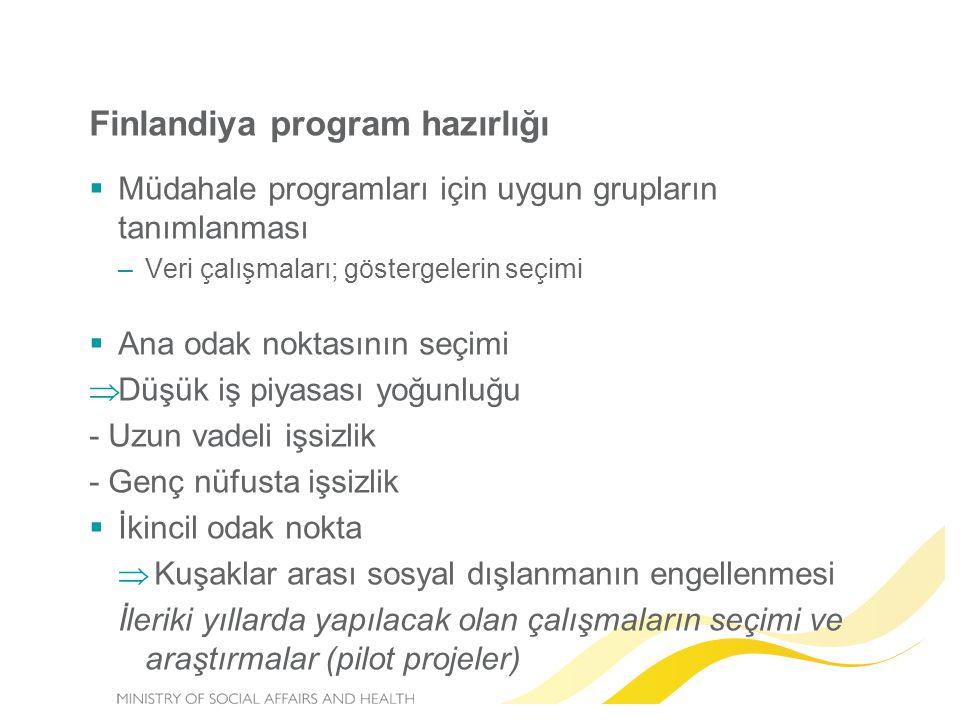 Finlandiya program hazırlığı  Müdahale programları için uygun grupların tanımlanması –Veri çalışmaları; göstergelerin seçimi  Ana odak noktasının se