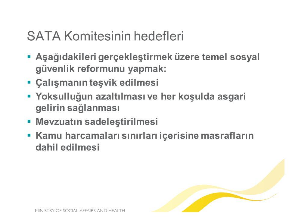 SATA Komitesinin hedefleri  Aşağıdakileri gerçekleştirmek üzere temel sosyal güvenlik reformunu yapmak:  Çalışmanın teşvik edilmesi  Yoksulluğun az