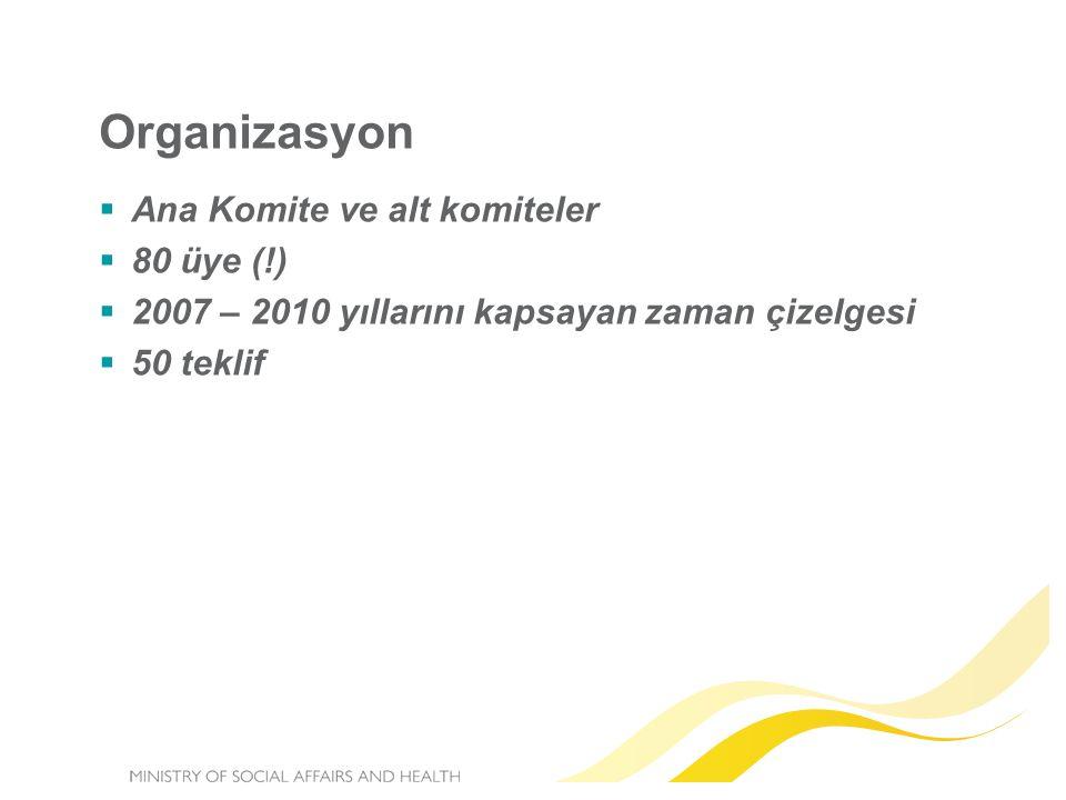 Organizasyon  Ana Komite ve alt komiteler  80 üye (!)  2007 – 2010 yıllarını kapsayan zaman çizelgesi  50 teklif