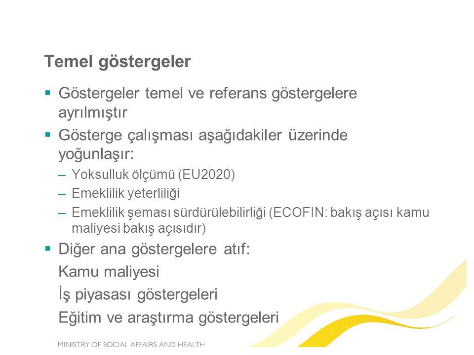 Temel göstergeler  Göstergeler temel ve referans göstergelere ayrılmıştır  Gösterge çalışması aşağıdakiler üzerinde yoğunlaşır: –Yoksulluk ölçümü (EU2020) –Emeklilik yeterliliği –Emeklilik şeması sürdürülebilirliği (ECOFIN: bakış açısı kamu maliyesi bakış açısıdır)  Diğer ana göstergelere atıf: Kamu maliyesi İş piyasası göstergeleri Eğitim ve araştırma göstergeleri
