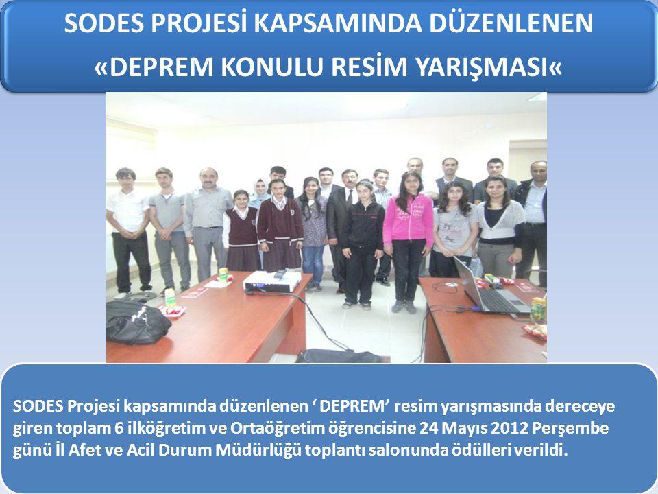 SODES PROJESİ KAPSAMINDA DÜZENLENEN «DEPREM KONULU RESİM YARIŞMASI« SODES Projesi kapsamında düzenlenen ' DEPREM' resim yarışmasında dereceye giren toplam 6 ilköğretim ve Ortaöğretim öğrencisine 24 Mayıs 2012 Perşembe günü İl Afet ve Acil Durum Müdürlüğü toplantı salonunda ödülleri verildi.
