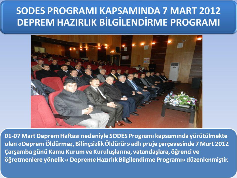 SODES PROGRAMI KAPSAMINDA 7 MART 2012 DEPREM HAZIRLIK BİLGİLENDİRME PROGRAMI 01-07 Mart Deprem Haftası nedeniyle SODES Programı kapsamında yürütülmekt