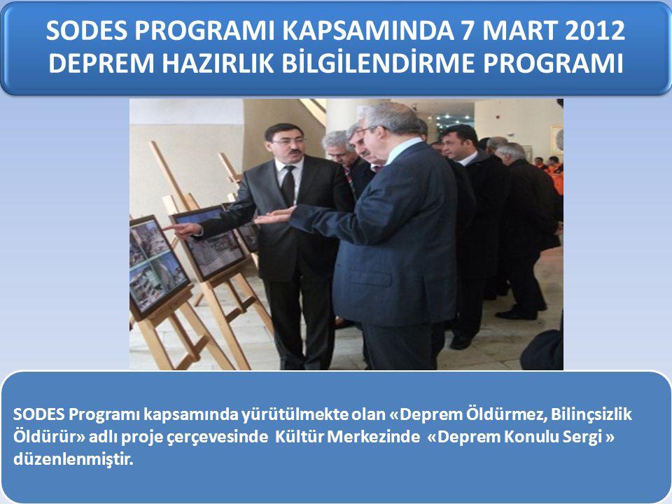 SODES PROGRAMI KAPSAMINDA 7 MART 2012 DEPREM HAZIRLIK BİLGİLENDİRME PROGRAMI SODES Programı kapsamında yürütülmekte olan «Deprem Öldürmez, Bilinçsizli