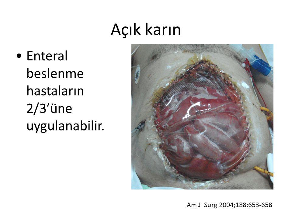 Enteral beslenme hastaların 2/3'üne uygulanabilir. Am J Surg 2004;188:653-658 Açık karın