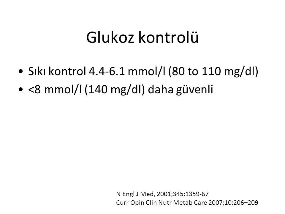 Glukoz kontrolü Sıkı kontrol 4.4-6.1 mmol/l (80 to 110 mg/dl) <8 mmol/l (140 mg/dl) daha güvenli N Engl J Med, 2001;345:1359-67 Curr Opin Clin Nutr Me