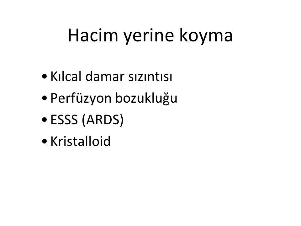 Hacim yerine koyma Kılcal damar sızıntısı Perfüzyon bozukluğu ESSS (ARDS) Kristalloid