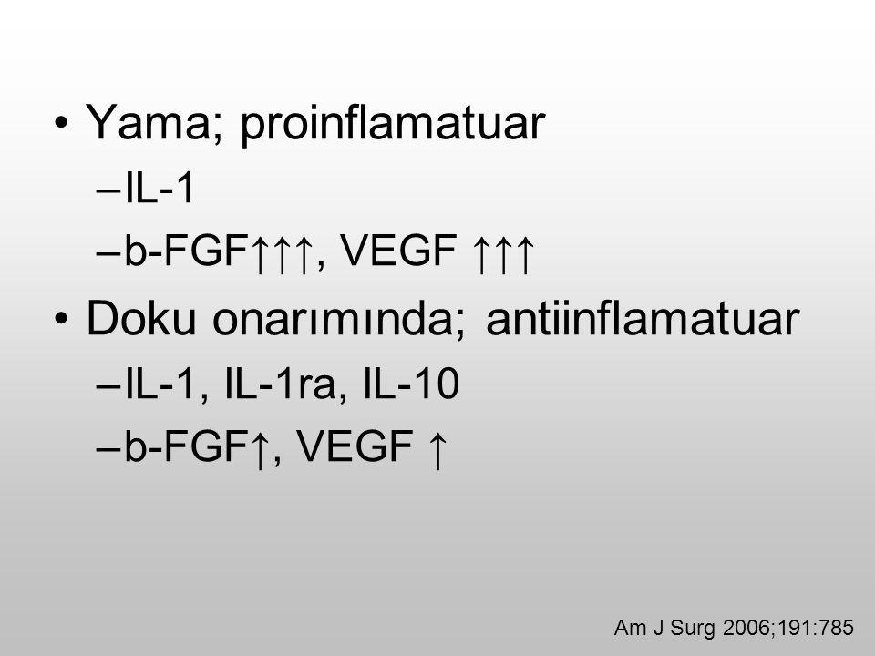Yama; proinflamatuar –IL-1 –b-FGF↑↑↑, VEGF ↑↑↑ Doku onarımında; antiinflamatuar –IL-1, IL-1ra, IL-10 –b-FGF↑, VEGF ↑ Am J Surg 2006;191:785