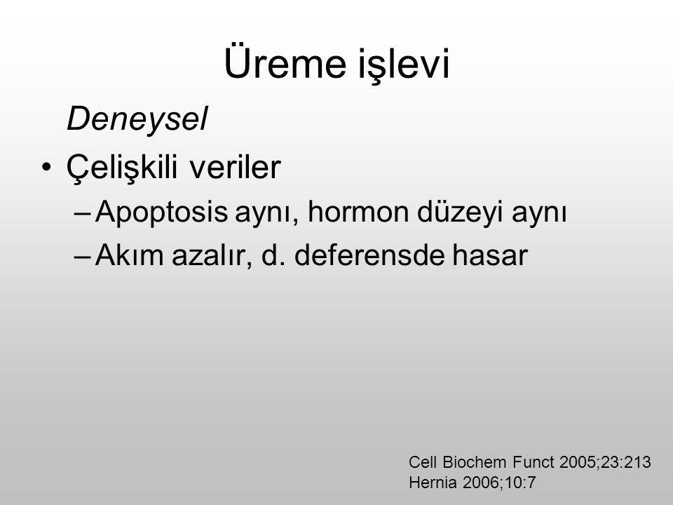 Üreme işlevi Deneysel Çelişkili veriler –Apoptosis aynı, hormon düzeyi aynı –Akım azalır, d. deferensde hasar Cell Biochem Funct 2005;23:213 Hernia 20