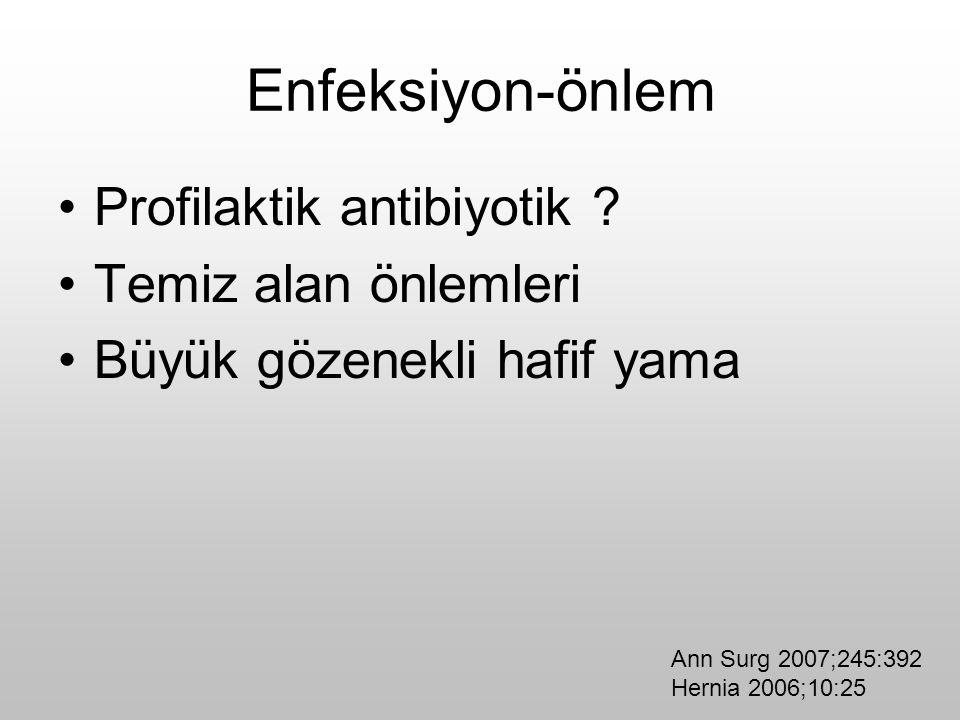 Enfeksiyon-önlem Profilaktik antibiyotik ? Temiz alan önlemleri Büyük gözenekli hafif yama Ann Surg 2007;245:392 Hernia 2006;10:25