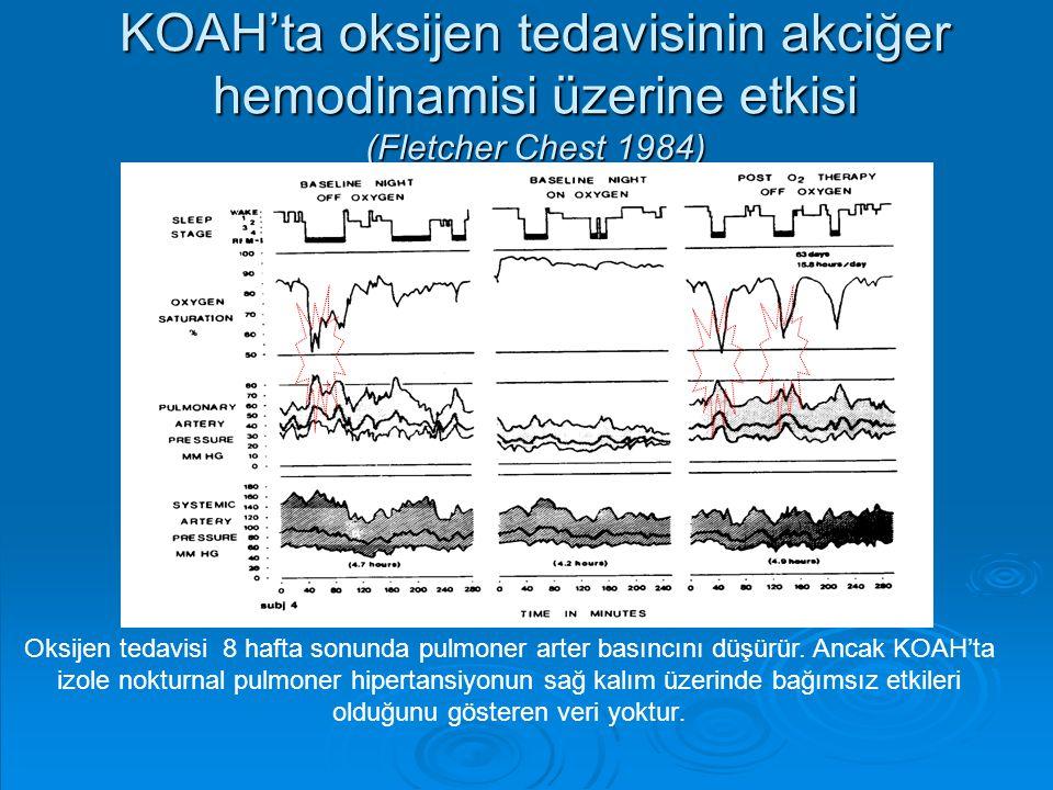 KOAH'ta oksijen tedavisinin akciğer hemodinamisi üzerine etkisi (Fletcher Chest 1984) Oksijen tedavisi 8 hafta sonunda pulmoner arter basıncını düşürü
