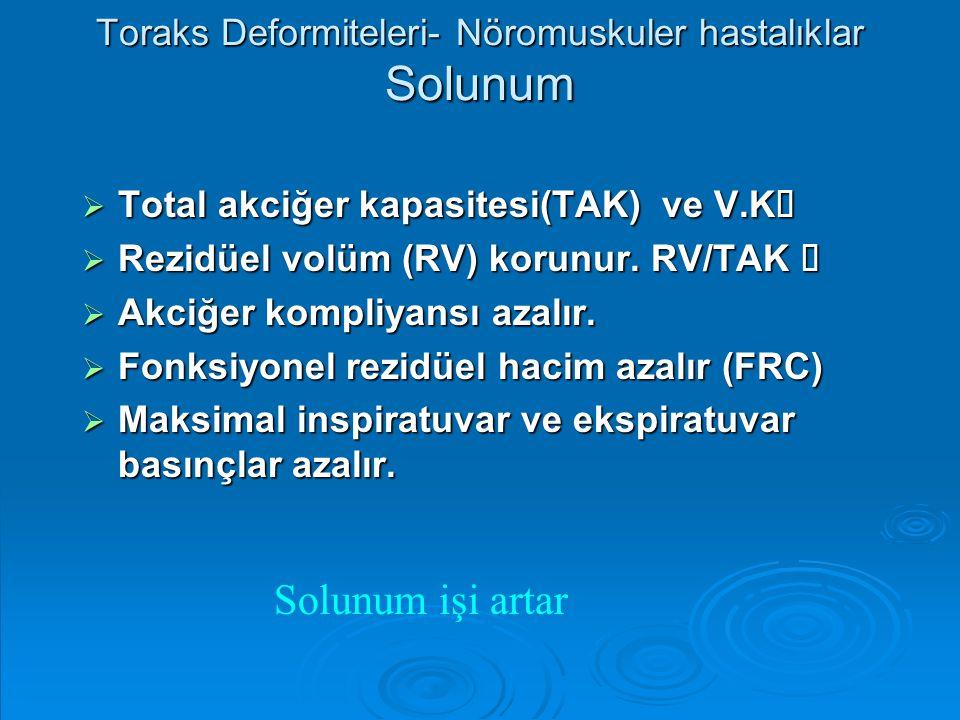Toraks Deformiteleri- Nöromuskuler hastalıklar Solunum  Total akciğer kapasitesi(TAK) ve V.K   Rezidüel volüm (RV) korunur. RV/TAK   Akciğer komp