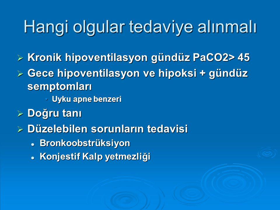 Hangi olgular tedaviye alınmalı  Kronik hipoventilasyon gündüz PaCO2> 45  Gece hipoventilasyon ve hipoksi + gündüz semptomları Uyku apne benzeriUyku