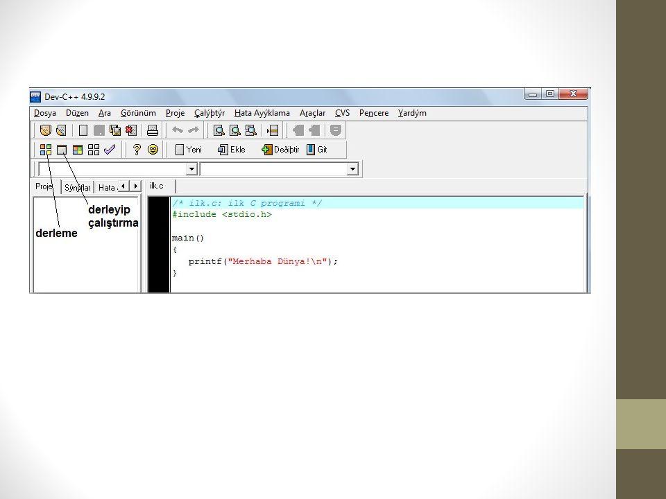 Dev C++ programında New-> Source File adımlarını takip ederek boş sayfada görülen kod yazıldı.