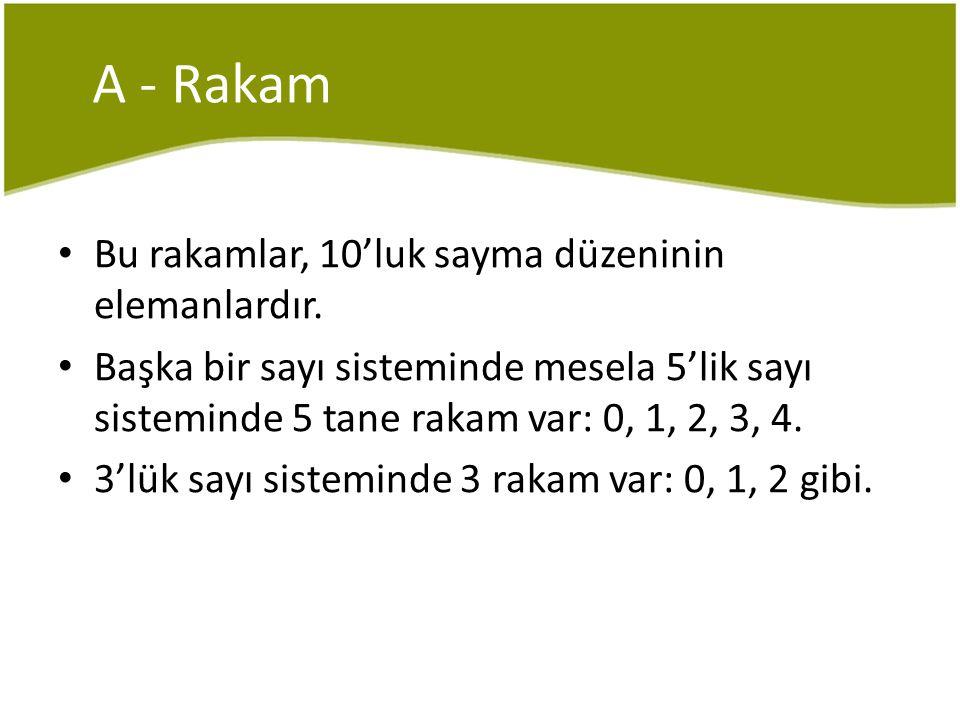 A - Rakam Bu rakamlar, 10'luk sayma düzeninin elemanlardır.