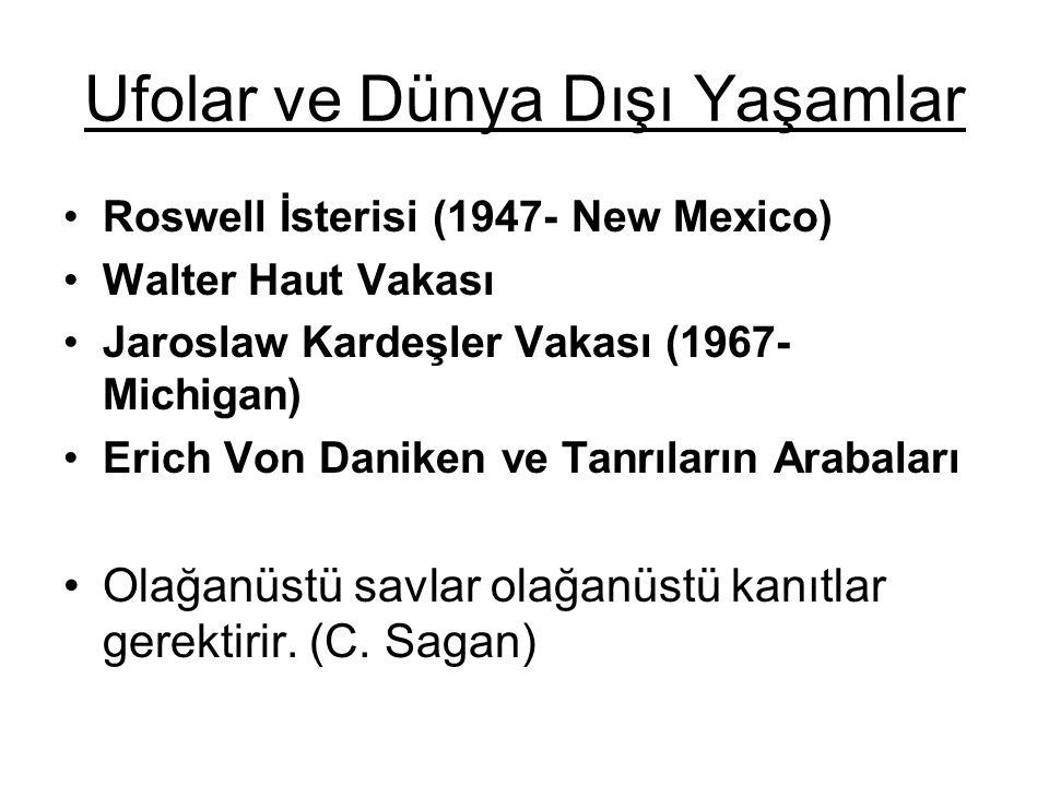Ufolar ve Dünya Dışı Yaşamlar Roswell İsterisi (1947- New Mexico) Walter Haut Vakası Jaroslaw Kardeşler Vakası (1967- Michigan) Erich Von Daniken ve T