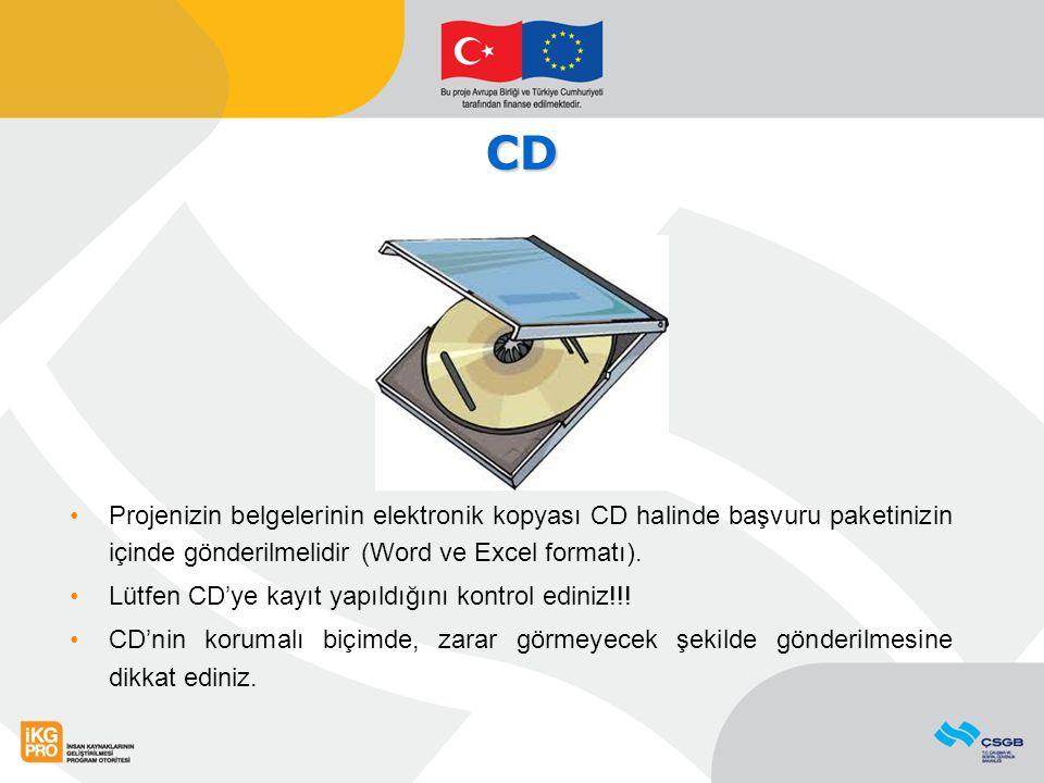 CD Projenizin belgelerinin elektronik kopyası CD halinde başvuru paketinizin içinde gönderilmelidir (Word ve Excel formatı). Lütfen CD'ye kayıt yapıld