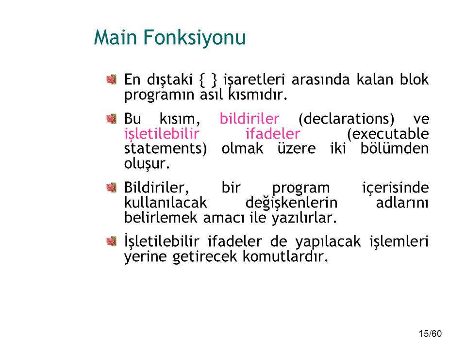 15/60 Main Fonksiyonu En dıştaki { } işaretleri arasında kalan blok programın asıl kısmıdır. Bu kısım, bildiriler (declarations) ve işletilebilir ifad