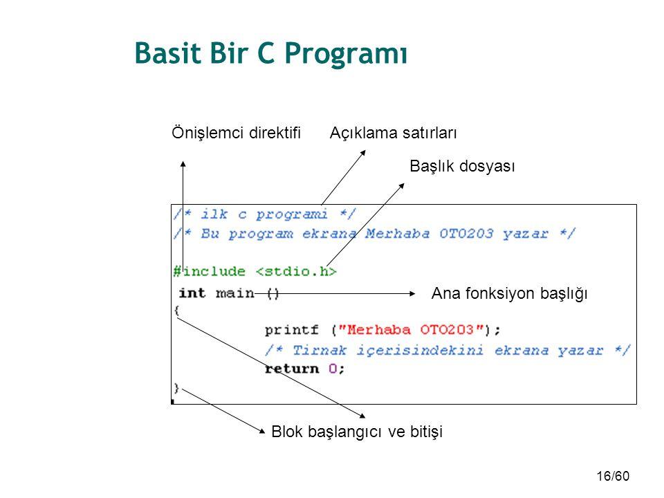 16/60 Basit Bir C Programı Açıklama satırları Başlık dosyası Blok başlangıcı ve bitişi Önişlemci direktifi Ana fonksiyon başlığı
