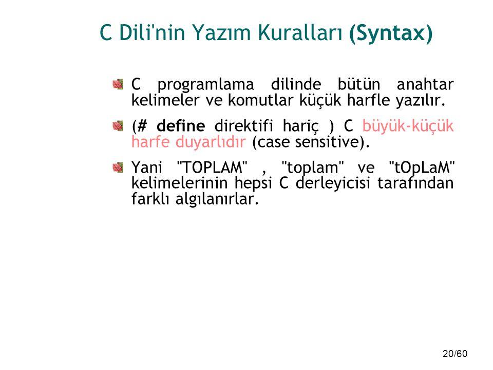 20/60 C Dili'nin Yazım Kuralları (Syntax) C programlama dilinde bütün anahtar kelimeler ve komutlar küçük harfle yazılır. (# define direktifi hariç )