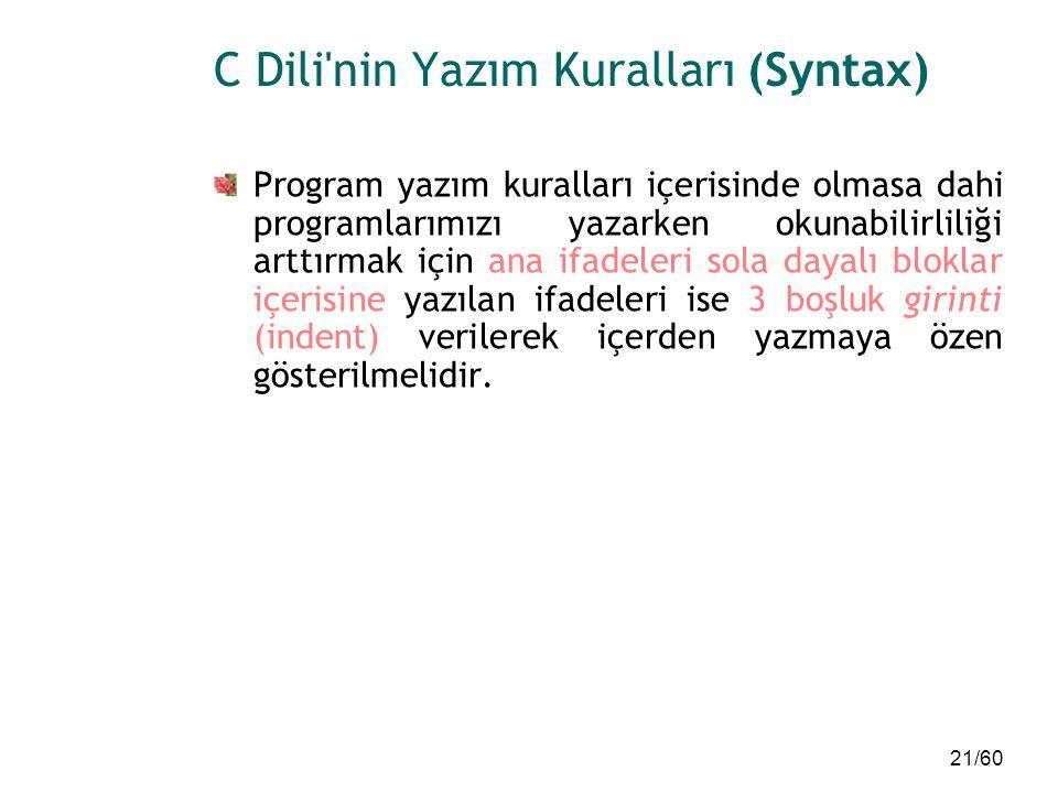 21/60 C Dili'nin Yazım Kuralları (Syntax) Program yazım kuralları içerisinde olmasa dahi programlarımızı yazarken okunabilirliliği arttırmak için ana