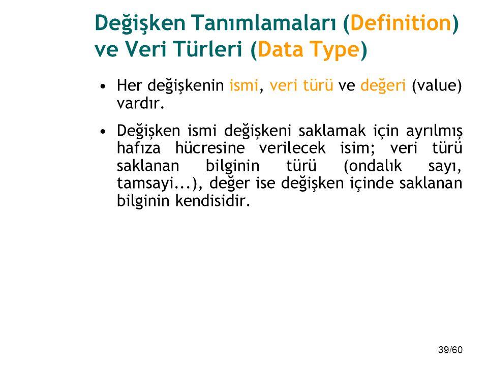 39/60 Değişken Tanımlamaları (Definition) ve Veri Türleri (Data Type) Her değişkenin ismi, veri türü ve değeri (value) vardır. Değişken ismi değişkeni