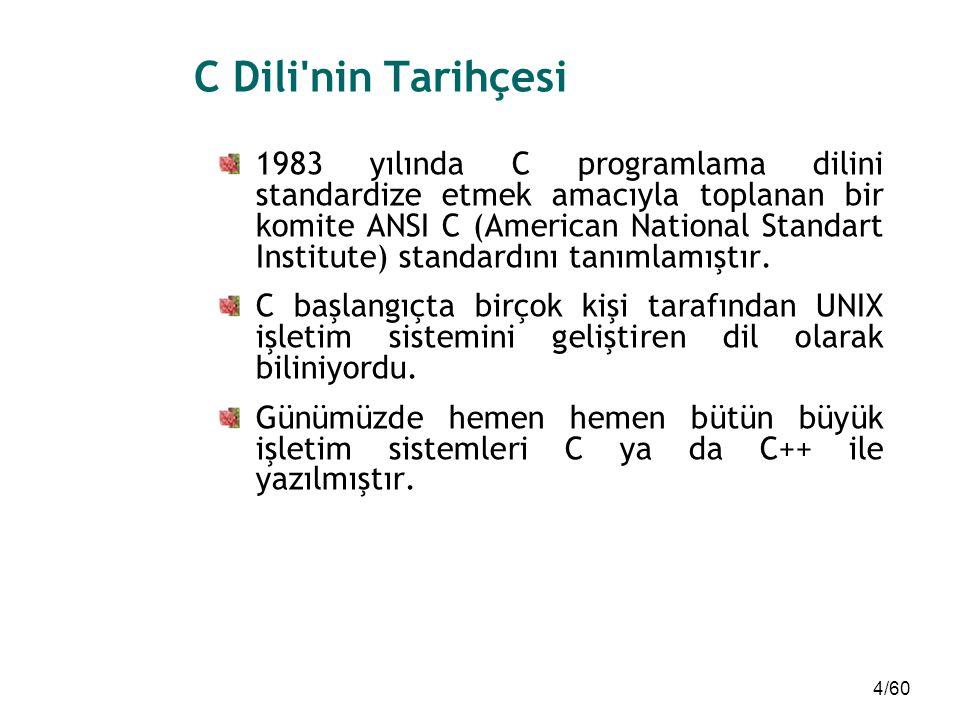 4/60 C Dili'nin Tarihçesi 1983 yılında C programlama dilini standardize etmek amacıyla toplanan bir komite ANSI C (American National Standart Institut