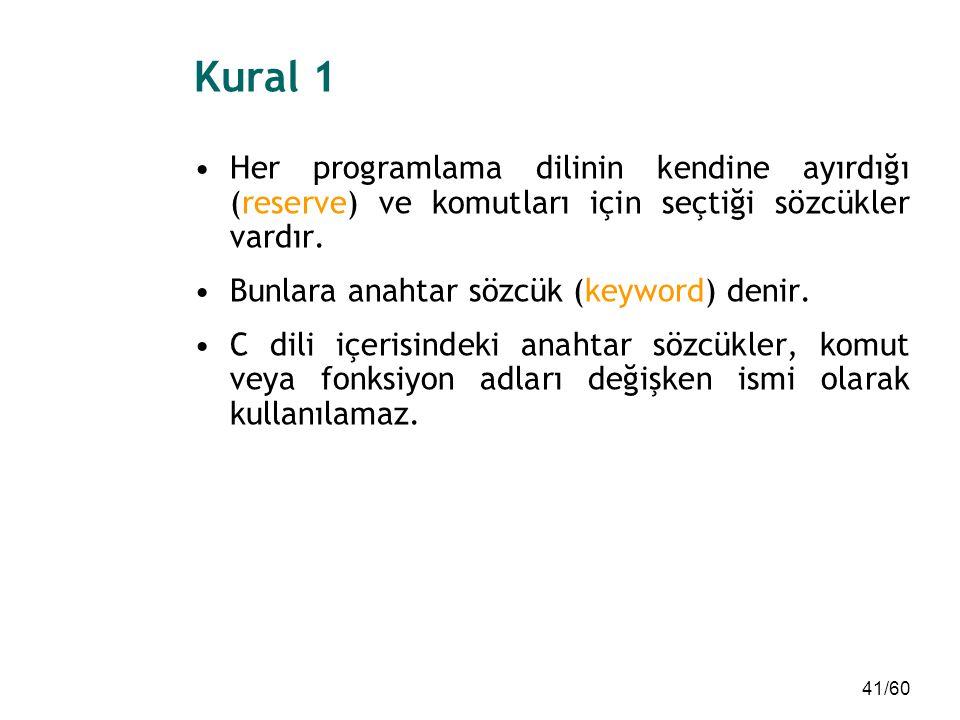 41/60 Kural 1 Her programlama dilinin kendine ayırdığı (reserve) ve komutları için seçtiği sözcükler vardır. Bunlara anahtar sözcük (keyword) denir. C