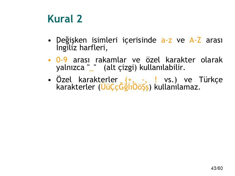 43/60 Kural 2 Değişken isimleri içerisinde a-z ve A-Z arası İngiliz harfleri, 0-9 arası rakamlar ve özel karakter olarak yalnızca