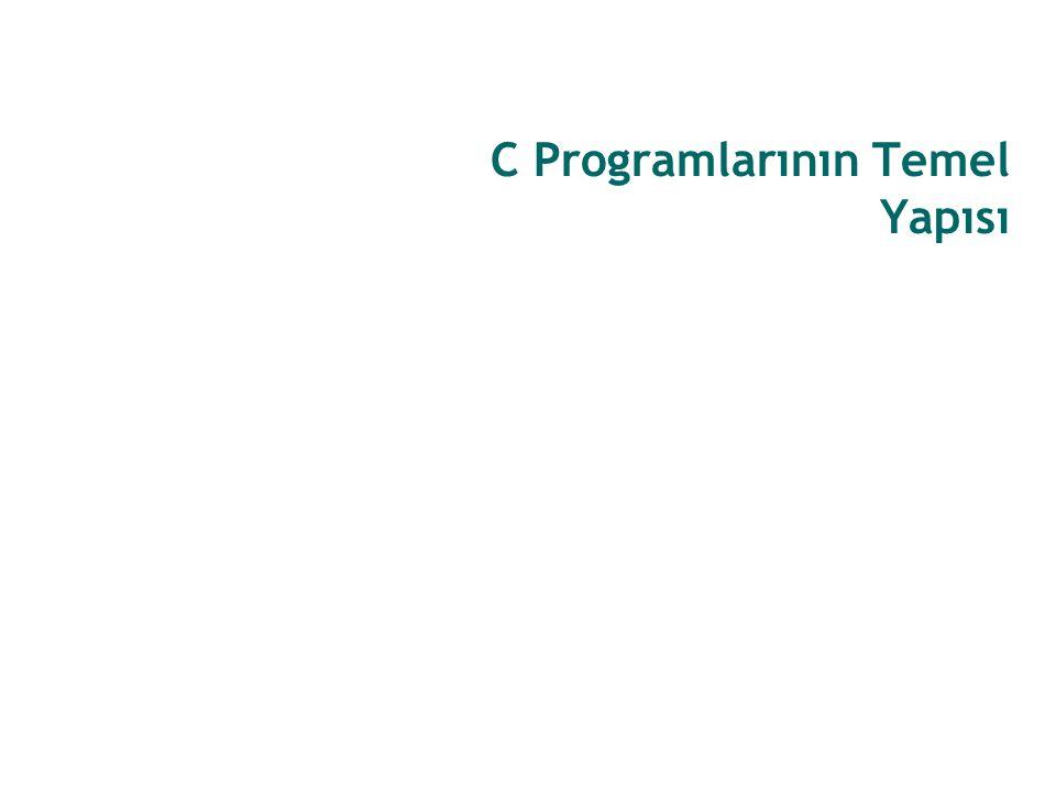 8/60 C Programlarının Temel Yapısı Bir C programı iki temel bölümden oluşur: Önişlemci Direktifleri (Preprocessor Directives) ve Ana Fonksiyon (main function).