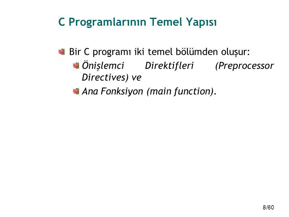 8/60 C Programlarının Temel Yapısı Bir C programı iki temel bölümden oluşur: Önişlemci Direktifleri (Preprocessor Directives) ve Ana Fonksiyon (main f