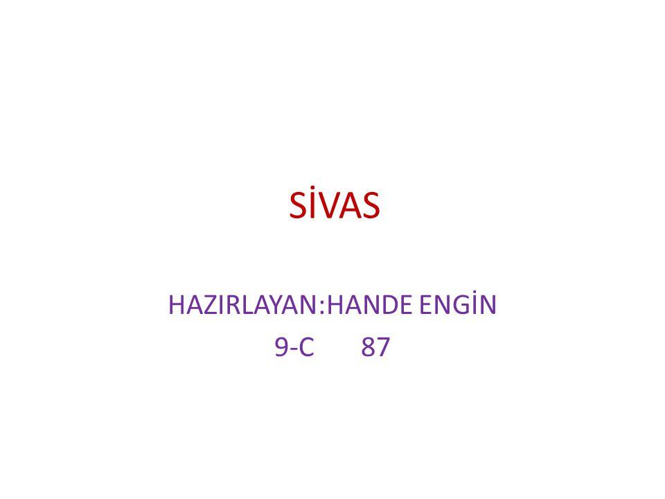 SİVAS HAZIRLAYAN:HANDE ENGİN 9-C 87