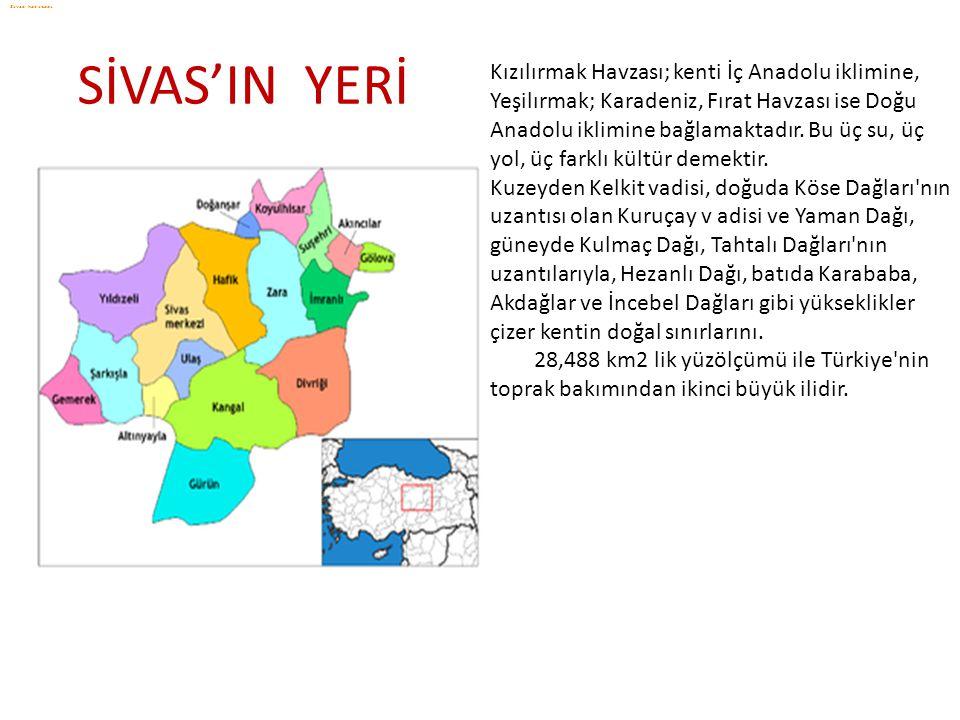 Kızılırmak Havzası; kenti İç Anadolu iklimine, Yeşilırmak; Karadeniz, Fırat Havzası ise Doğu Anadolu iklimine bağlamaktadır. Bu üç su, üç yol, üç fark