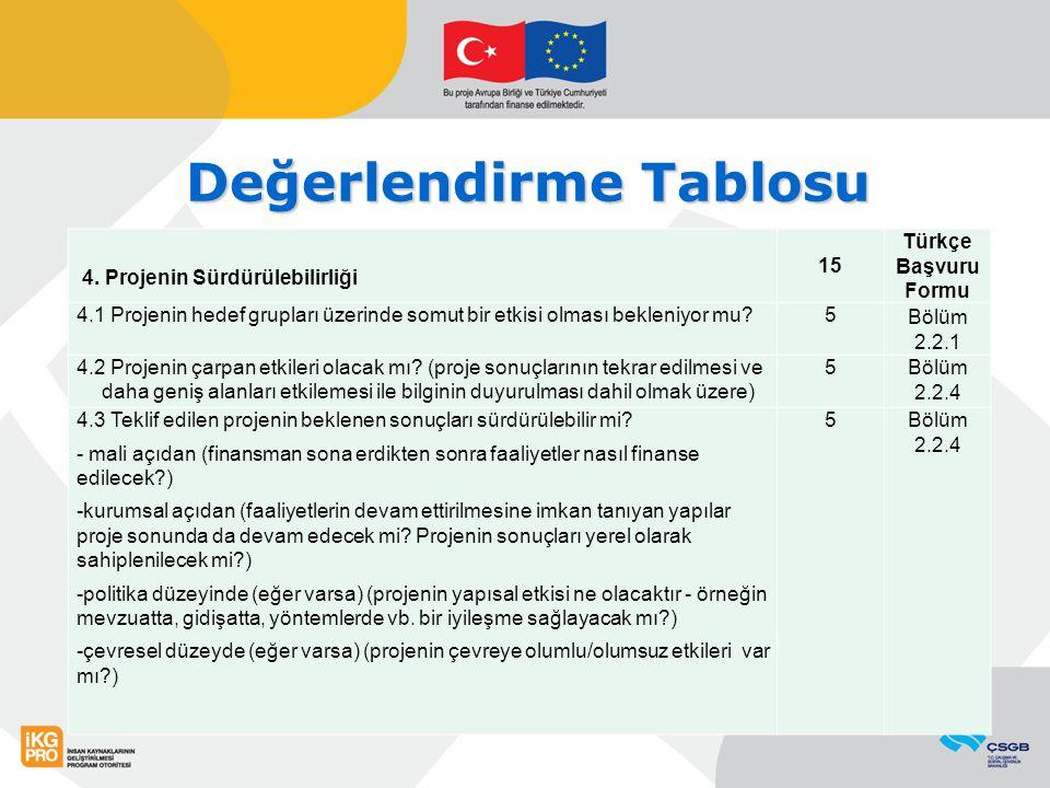Değerlendirme Tablosu 4. Projenin Sürdürülebilirliği 15 Türkçe Başvuru Formu 4.1 Projenin hedef grupları üzerinde somut bir etkisi olması bekleniyor m