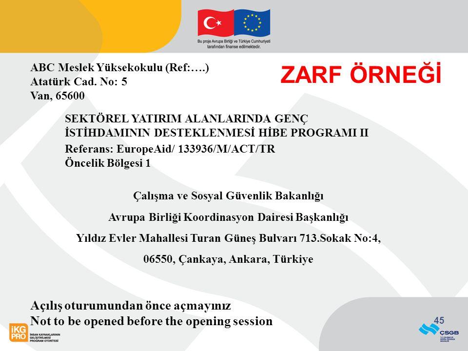 45 ABC Meslek Yüksekokulu (Ref:….) Atatürk Cad. No: 5 Van, 65600 SEKTÖREL YATIRIM ALANLARINDA GENÇ İSTİHDAMININ DESTEKLENMESİ HİBE PROGRAMI II Referan