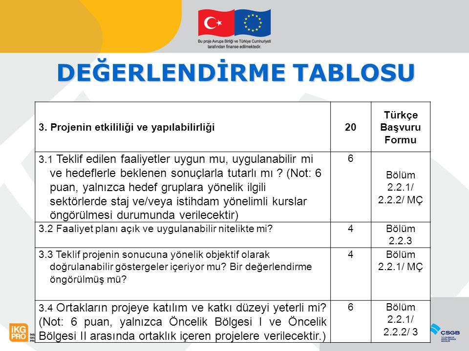 DEĞERLENDİRME TABLOSU 3.