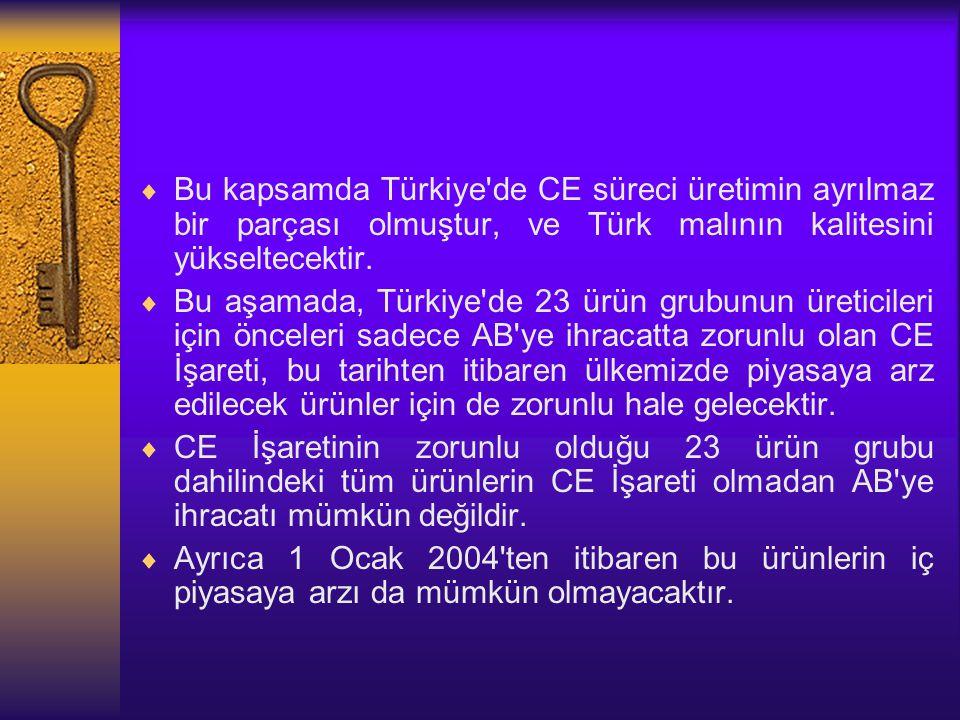  Bu kapsamda Türkiye'de CE süreci üretimin ayrılmaz bir parçası olmuştur, ve Türk malının kalitesini yükseltecektir.  Bu aşamada, Türkiye'de 23 ürün