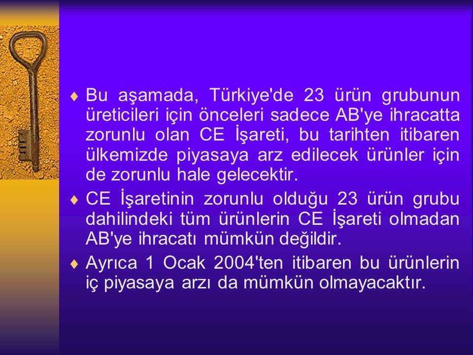  Bu aşamada, Türkiye'de 23 ürün grubunun üreticileri için önceleri sadece AB'ye ihracatta zorunlu olan CE İşareti, bu tarihten itibaren ülkemizde piy