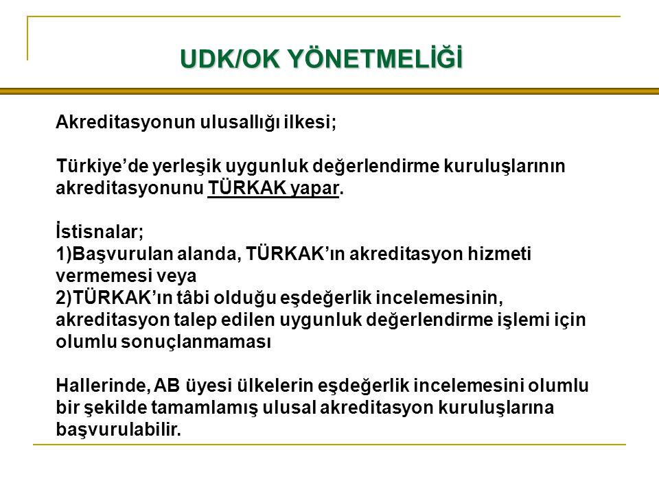 UDK/OK YÖNETMELİĞİ Akreditasyonun ulusallığı ilkesi; Türkiye'de yerleşik uygunluk değerlendirme kuruluşlarının akreditasyonunu TÜRKAK yapar. İstisnala